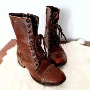 Steve Madden Brown Leather Troopa Moto Combat Boot